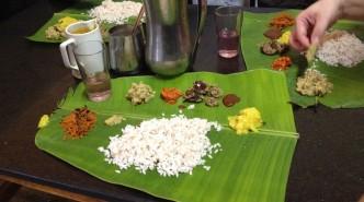 Traditional vegetarian meal served on banana leaf