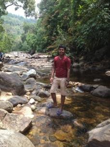 Niyas at Meenmutty waterfall