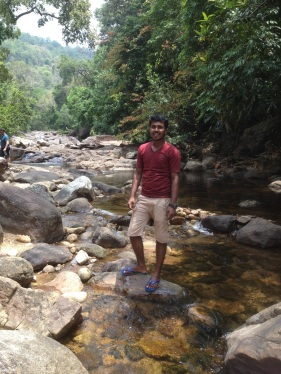 Niyas at Meenmutty waterfall